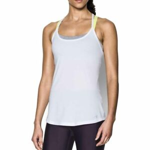 Under Armour UA HeatGear Ladies Fly By White Racerback Tank Running Vest S
