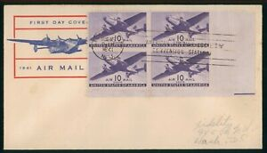 MayfairStamps US FDC Sealed 1941 10 Cents Air Mail Block Plate Fidelity First Da