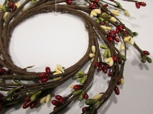 "4.25/"" Opening Pip Berry CLASSIC Candle Ring Wreath Red /& Tan ~  3.5/"""