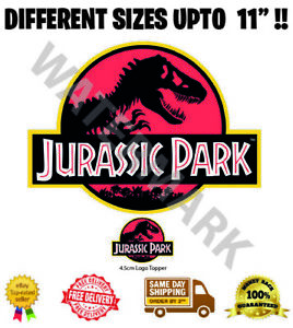 Jurassic Park Logo Badge Wafer Icing Cake Topper