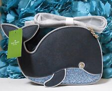 Nwt Kate Spade Off We Go Whale Crossbody Leather Bag Clutch Navy Blue New $248
