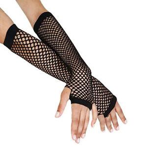 Punk Goth Lady Disco Dance Costume Lace Fingerless Mesh Fishnet GlovesHH Brpf