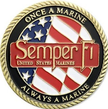 UNITED STATES MARINE CORPS SEMPER FI ONCE A MARINE ALWAYS A MARINE COIN