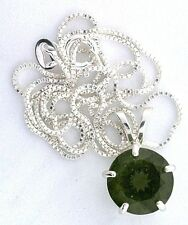 3.62 Carat 11mm Round Moldavite Gem Gemstone PURE Sterling Silver Pendant Chain