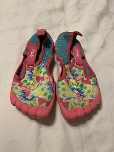Newtz Girls Size 13/1 Water Beach Shoes Pink Aqua Multicolor Print Used