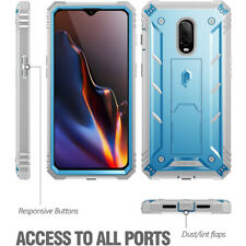 For OnePlus 6T Poetic [Revolution] Built-in-Screen Protector Case Cover Blue