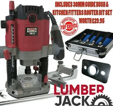 """Lumberjack 1/2"""" Plunge Router with Guide Bush & 4Pc Kitchen Fitter Set worth £30"""