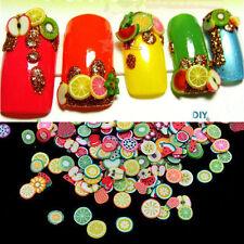 1000PCS 3D Fruit Animals Fimo Slice Clay DIY Nail Art Tip Sticker Decoration New