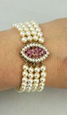 Vintage Estate 14K 4 strand pearl statement bracelet 14K Natural Ruby clasp