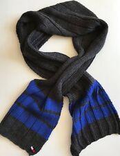 $54 NWT Mens Tommy Hilfiger Logo Dk Gray Blue Striped Acrylic Wool Scarf Muffler