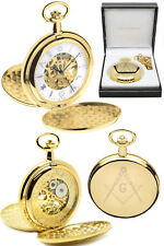 Mount Royal Masonic Twin Lid Skeleton Pocket Watch 17 JEWEL Gold Plated (g414)