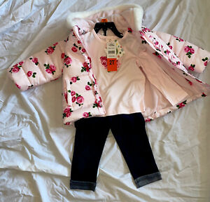 Little Me Girls 3-Piece Jacket, Top, Pant Outfit. Size 2T