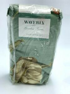 Waverly Garden Room Spring Blossom Twin Bedskirt Sage Green Tan Floral