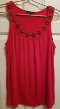 Ladies ANNE KLEIN Scoop Neck Tank Top ~ Red ~ Beaded Rope Trim ~ XL