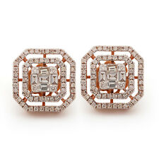 1.62Ct Diamond Stud Earrings Solid Pave 14K Rose Gold Thanksgiving Gift Jewelry