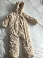 Baby Girl 9-12 Months Faux Fur Snowsuit Pram Suit Teddy Bear Ears F&F
