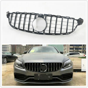 C63 GT R AMG Front Grille Grill for Mercedes Benz W205 2015-18 Black w/ camera