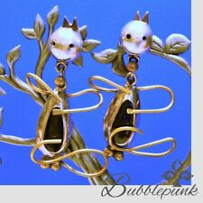 Onyx Modernist Cat Figural Earrings Vintage Taxco Mexico 925 Sterling Silver