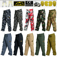 Men Motorbike Cargo & Camo Pants With Protective Lining And CE Approved Armour