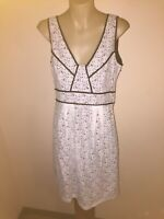 Womens White Black Dress Sz10 Cue Brand Made In Australia