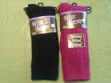 Ladies Merino Wool Cable Knit Socks -2 Pairs- Shoe Size 6-9