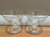 "2 Wine Glasses Dessert Bowls Cups HOBNAIL BEADED PEARL Stemmed 3 1/2"" Clear"