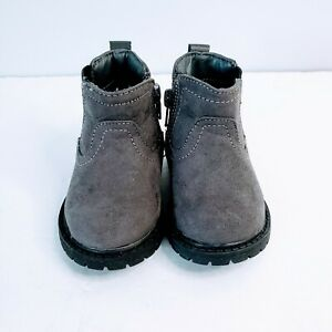 Carters Baby/Toddler Boy Cooper 3 Grey Faux Suede  Casual Boot Side Zipper Sz. 4
