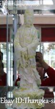 "15"" Exquisite Natural Green Jade Carving Kwan-yin Bodhisattva Goddess Statue"
