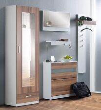 Garderobe nussbaum weiß 5 teilig Garderobenset Paneel Schuhschrank Spiegel Nando