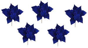 5 x Navy Blue Poinsettia Flower Christmas Tree Decoration Picks