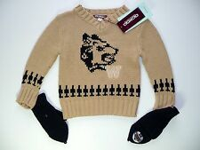 OOXOO PULL LOUP MARRON AVEC MOUFLES 2 ANS FIFTIES MONTAIN NEUF