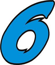 """x1 1"""" Race Number vinyl stickers (MORE in EBAY SHOP) Style 2 Number 6 Lblue/Blck"""