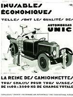 Publicité ancienne voiture automobile Unic 1929 Jean A. Mercier  issue magazine