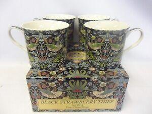 Set of 4 gift boxed black strawberry thief design fine china palace mugs