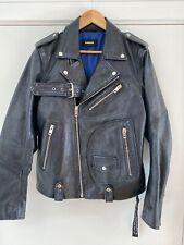 Diesel SS19 Blue Biker Leather Jacket Mens Size Large RRP:£690