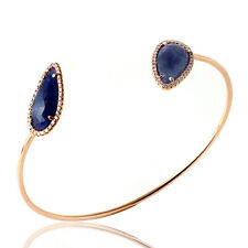 Rose Cut Sliced 8.7 CT Blue Sapphire 0.36 CT Diamonds 14K Rose Gold Bangle »NP1