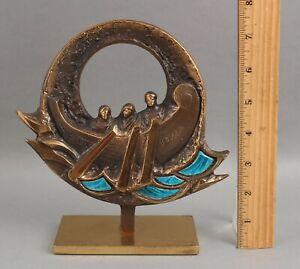 RARE Vintage Felix Italia STUDIO DEL CAMPO Ltd Ed Bronze & Enamel Sculpture
