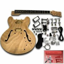 Unfinished Guitar Kit - ES335 Chrome Bigsby, Mahogany Hollow Body, Ebony neck