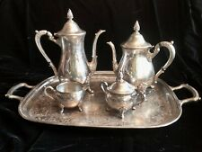 VINTAGE 5 PIECE SILVER PLATE TEA&COFFEE SET  FLOWER MOTIF ON  PAW FEET & FINIALS