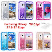 For Samsung Galaxy S7 S7 Edge Liquid Glitter Defender (Case Clip Fits Otterbox)