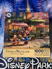 Disney Parks Thomas Kinkade 1000 Piece Puzzle Mickey & Minnie Sweetheart Cafe