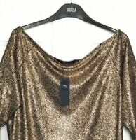 M&S Marks s24 Luxe Copper Bardot Neckline Fluted Sleeve Pull On Top Blouse BNWT
