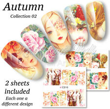 2x Full Cover Water Stickers Wraps Transfers Nail Art Autumn Manga Stag Z210