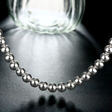 """Necklace Wholesale Sterling Solid Silver 8mm*20"""" Hollow Beads Chain"""