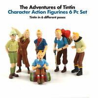 6pc Set Tintin Comic Book Tin Tin PVC Figurine Toys Collector Christmas Gift Fan