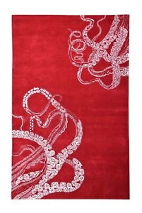 Octopus Tail Red Modern Style Handmade Tufted 100% Woolen Rugs & Carpet