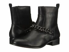 Coach Adella Chain Ankle Zip Boots Black Leather Womens 7.5 NEW IN BOX