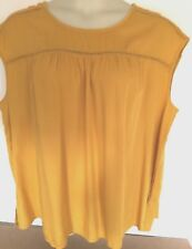 St Johns Bay Pullover Sleeveless Top Blouse Jewel Neckline w/Piping Gold Size 1X