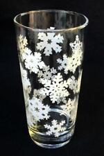 Snowflake Drinking Glass 12 oz. Drinking Tumbler Winter White Glassware