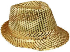 GIRL SMALL Fedora Hat GOLD Sequin Shiny Cap Costume CHRISTMAS Dance Party KIDS